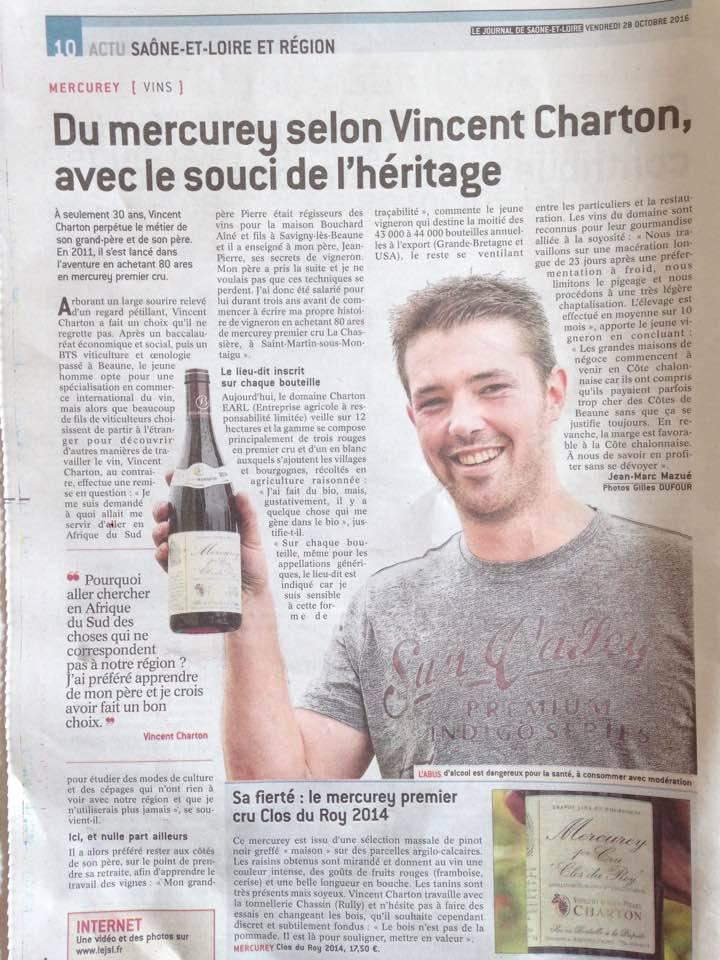 Domaine Charton, Viticulteurs à Mercurey - Le journal de Saône-et-Loire Octobre 2016