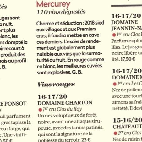 Domaine Charton, Viticulteurs à Mercurey - REVUE DES VINS DE FRANCE SPECIAL MILLESIME 2018